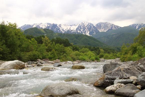 松川と北アルプス
