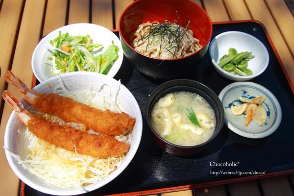 きりの実 ミニソース海老丼と椀蕎麦セット